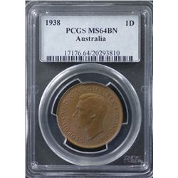 1938 Penny PCGS MS64 Brown
