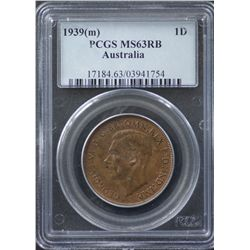 1939 Penny PCGS MS63 RB