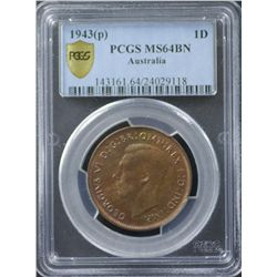 1943P Penny PCGS MS64 Brown