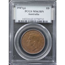 1947P Penny PCGS MS63 Brown