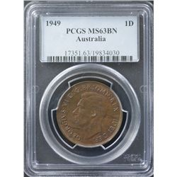 1949 Penny PCGS MS63 Brown