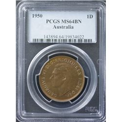 1950 Penny PCGS MS64 Brown