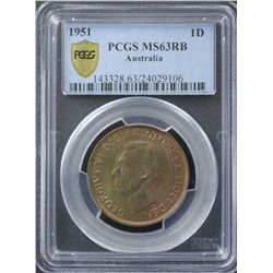 1951 Penny PCGS MS63 RB