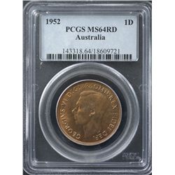 1952 Penny PCGS MS64 Red