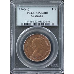 1960P Penny PCGS MS63 RB