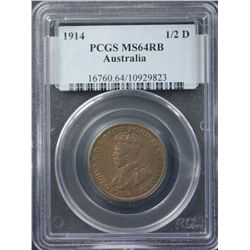 1914 ½ Penny PCGS MS64 RB