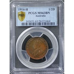 1914H ½ Penny PCGS MS63 Brown
