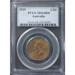 1919 ½ Penny PCGS MS 64 Red