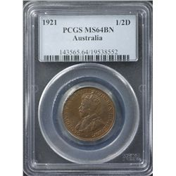 1921 ½ Penny PCGS MS64 Brown