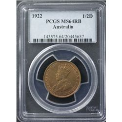 1922 ½ Penny PCGS MS64 Red Brown