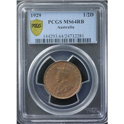 1929 ½ Penny PCGS MS64 Red Brown