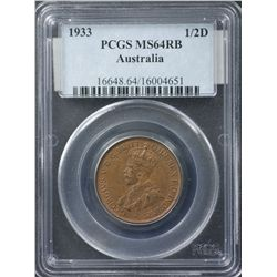 1933 ½ Penny PCGS MS64 Red Brown