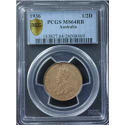 1936 ½ Penny PCGS MS64 Red Brown