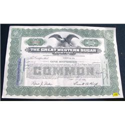 1956 100 SHARES STOCK CERTIFICATE *THE GREAT WESTERN SUGAR COMPANY - NICE STOCK CERTIFICATE*!!