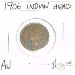 1906 INDIAN HEAD PENNY RED BOOK VALUE IS $20.00 *NICE COIN - RARE AU HIGH GRADE*!!
