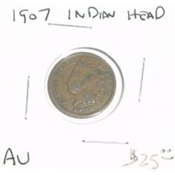 1907 INDIAN HEAD PENNY RED BOOK VALUE IS $25.00 *NICE COIN - RARE AU HIGH GRADE*!!