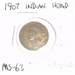 1907 INDIAN HEAD PENNY RED BOOK VALUE IS $75.00 *NICE COIN - EXTREMELY RARE AU HIGH GRADE*!!