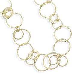 21  14 Karat Gold Plated Textured Link Necklace