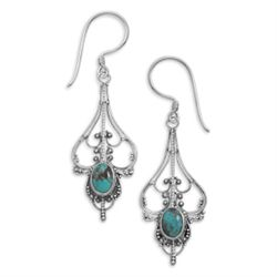 Oval Turquoise Cut Out Design Earrings