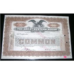 1927 EXTREMELY RARE 50 SHARES STOCK CERTIFICATE *THE GREAT WESTERN SUGAR COMPANY - NICE CERTIFICATE!