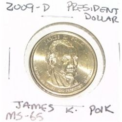 2009-D PRESIDENTIAL DOLLAR *JAMES K. POLK* RARE MS-65 HIGH GRADE*!!
