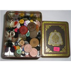 DESIGNER TIN FULL OF VINTAGE ASSORTED BUTTONS *APPROX. 150 TOTAL BUTTONS*!!