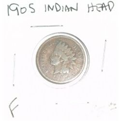 1905 INDIAN HEAD PENNY RED BOOK VALUE IS $5.00 *NICE COIN - FINE GRADE*!!