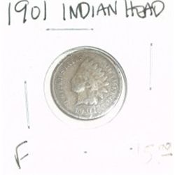 1901 INDIAN HEAD PENNY RED BOOK VALUE IS $5.00 *NICE COIN - FINE GRADE*!!