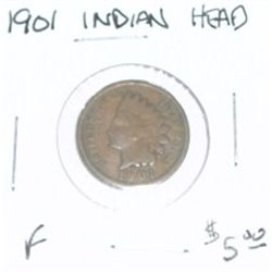 1901 INDIAN HEAD PENNY RED BOOK VALUE IS $5.00 *FINE GRADE - NICE COIN*!!