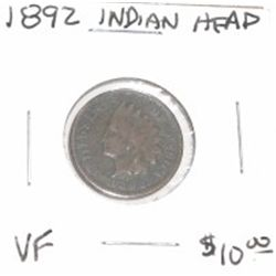 1892 INDIAN HEAD PENNY RED BOOK VALUE APPROX. $10.00 *RARE VERY FINE GRADE*!!