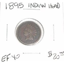 1895 INDIAN HEAD PENNY RED BOOK VALUE IS $20.00 *RARE EXTRA FINE-40 HIGH GRADE*!!