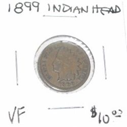 1899 INDIAN HEAD PENNY RED BOOK VALUE IS $10.00 *RARE VERY FINE GRADE*!!