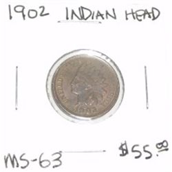 1902 INDIAN HEAD PENNY RED BOOK VALUE IS $55.00 *RARE MS-63 HIGH GRADE*!!