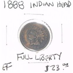 1888 INDIAN HEAD PENNY RED BOOK VALUE IS $23.00 *RARE FULL LIBERTY EXTRA FINE HIGH GRADE*!!