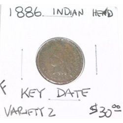 1886 VARIETY 2 INDIAN HEAD PENNY RED BOOK VALUE IS $30.00 *RARE KEY DATE FINE GRADE*!!