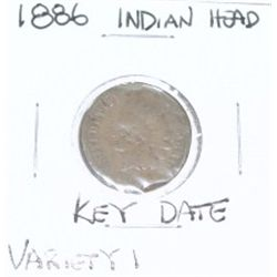 1886 VARIETY 1 INDIAN HEAD PENNY *RARE KEY DATE LOOK AT PICTURE TP DETERMINE GRADE*!!