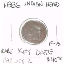 1886 VARIETY 2 INDIAN HEAD PENNY RED BOOK VALUE IS $40.00 *RARE KEY DATE FINE-15 GRADE*!!