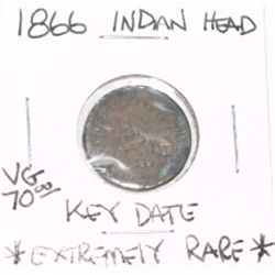 1866 INDIAN HEAD PENNY EXTREMELY RARE RED BOOK VALUE IS $70.00 *RARE KEY DATE VERY GOOD GRADE*!!
