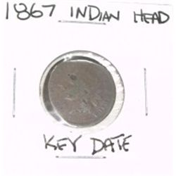 1867 INDIAN HEAD PENNY RARE KEY DATE *LOOK AT PICTURE TO DETERMINE GRADE*!!