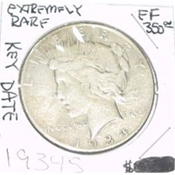 1934-S EXTREMELY RARE KEY DATE PEACE SILVER DOLLAR RED BOOK IS $350.00 *RARE EXTRA FINE HIGH GRADE!