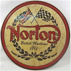 "1585 - NORTON METAL SIGN - APPROX. 11.5"" DIAM."