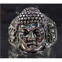 473 - TIBETAN SILVER BUDDHA HEAD RING