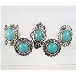 509 - LOT OF 5 TIBETAN SILVER TURQUOISE COLORED STONE RINGS