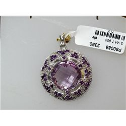 39.75 CTW AMETHYST PENDANT .925 STERLING SILVER