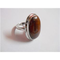 43.45 CTW TIGER EYE RING .925 STERLING SILVER