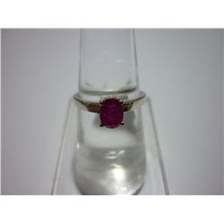 9.50 CTW RUBY RING .925 STERLING SILVER