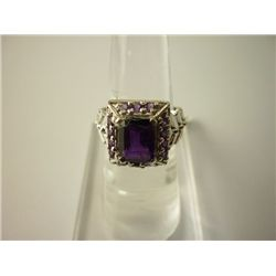 32.25 CTW AMETHYST RING .925 STERLING SILVER