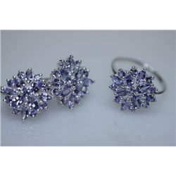 44.33 CTW TANZANITE SET .925 STERLING SILVER