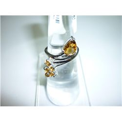 18.25 CTW CITRINE RING .925 STERLING SILVER