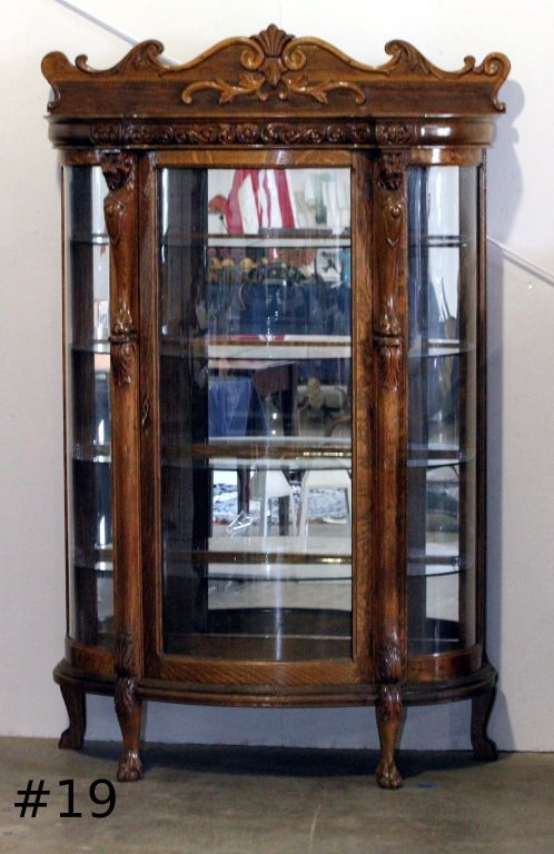 Image 1 : Antique Curio China Cabinet Curved Glass ... - Antique Curio China Cabinet Curved Glass